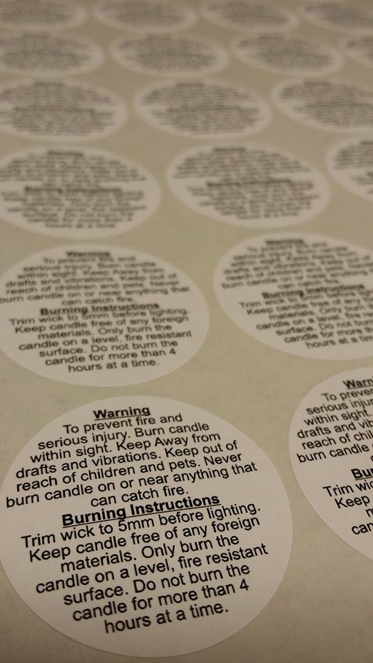 Candle Making Safety Stickers 37mm Paper Warning Burning